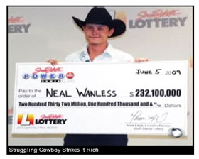 23 year old cowboy lottery winner Neal Wanless struck gold with the ...